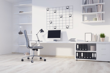 White home office corner, computer