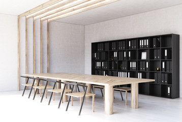 White modern meeting room interior, bookcase side