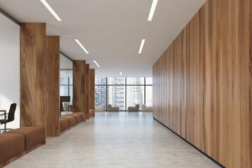 Wooden office corridor, brown sofas