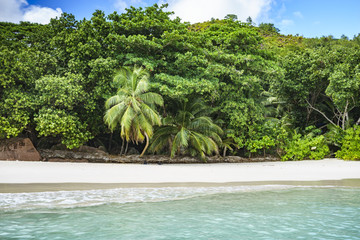 Looking to the coast of anse lazio from the water, praslin, seychelles 2