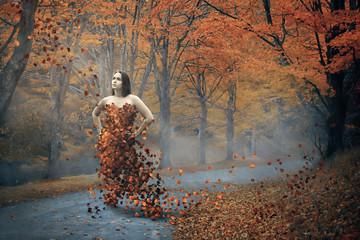 Woman and fall dress