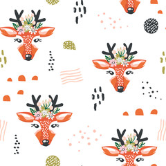 Seamless pattern with deers and drawn elements. Creative woodlan background. Perfect for kids apparel,fabric, textile, nursery decoration,wrapping paper.Vector Illustration