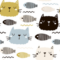Seamless childish pattern with cute cat face and fish. Creative nursery background. Perfect for kids design, fabric, wrapping, wallpaper, textile, apparel