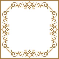 Vintage frame retro decoration corner template design.Gold photo frame with corner line floral for picture, Vector design decoration frame pattern style. Floral border template illustration