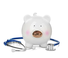 Cute piggy bank with stethoscope on white background