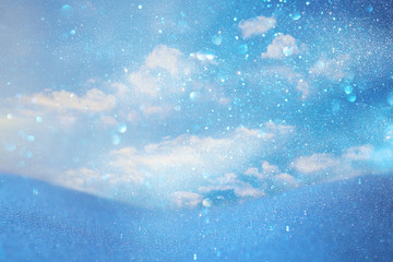 abstract image of clouds over blue background, winter season