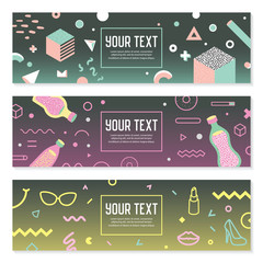 Abstract Memphis Style Horizontal Banners with Geometric and Hand Drawn Elements. Creative Modern Composition for Poster, Advertising Design. Vector illustration