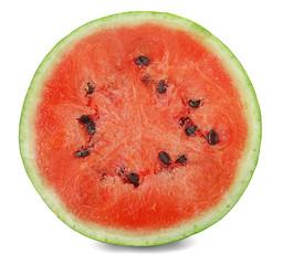 Half of ripe watermelon on white background