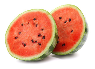 Halves of ripe watermelon on white background