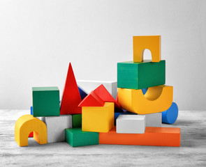 Colorful blocks for kindergarten on table