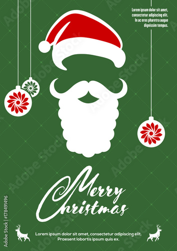 82c39b21b6988 Merry Christmas greeting card or poster design with Santa Claus hat and  beard. Vector illustration
