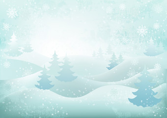 background winter landscape snowflakes christmas trees snow drifts