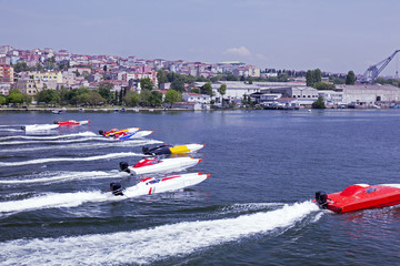 Offshore boat racing in Golden horn, Istanbul