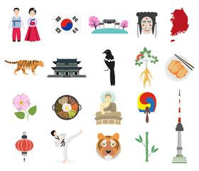 Set of Korean national symbols on the white background.