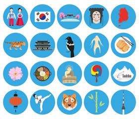 Set of Korean national symbols on the blue background.