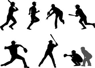 baseball silhouettes set 7 - vector
