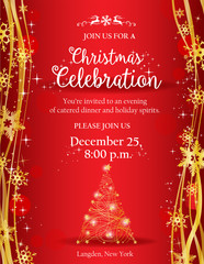 Christmas party invitation with gold decorative tree