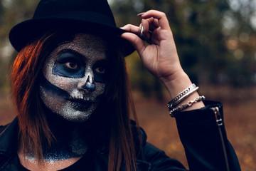 Woman celebrating Halloween