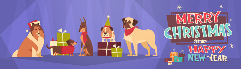 Merry Christmas And Happy New Year Horizontal Banner With Dogs Wearing Santa Hats Winter Holidays Greeting Card Flat Vector Illustration