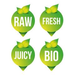 Raw, fresh, juicy, bio pointer vector