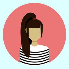 Female Avatar Profile Icon Round Woman Face Flat Vector Illustration
