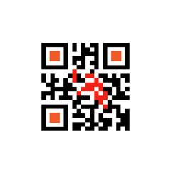Sample Qr Code For Smartphone Scanning Icon Vector Illustration