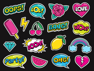 Modern colorful patch set on black background. Fashion patches of cherry, diamond, watermelon, ice cream, rose, rainbow, hearts, comic bubbles etc. Cartoon 80s-90s pop art style. Vector illustration