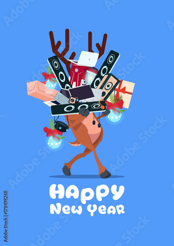 santa claus holding pile of modern electronics gadgets on happy new year banner background vector illustration
