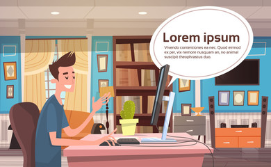 Young Man Working At Computer At Home Banner With Chat Bubble Copy Space From Desktop Monitor Flat Vector Illustration