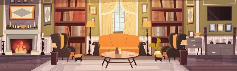 Cozy Living Room Interior Design With Furniture, Sofa, Table Armchairs, Fireplace Bookcase, Horizontal Banner Flat Vector Illustration