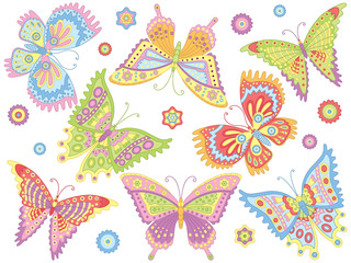 Vector Set of Colorful Butterflies