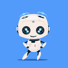 Wall Mural - Modern Robot Isolated On Blue Background Cute Cartoon Character Artificial Intelligence Concept Flat Vector Illustration