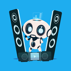 Wall Mural - Modern Robot Standing On Audio Speakers On Blue Background Cute Cartoon Character Artificial Intelligence Concept Flat Vector Illustration