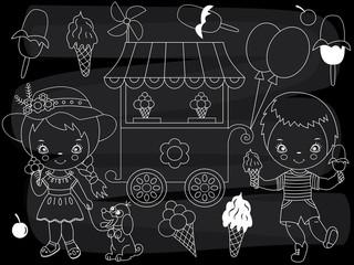 Vector Chalkboard Ice Cream Party Set. Vector Little Kids with Ice Cream on Blackboard Background