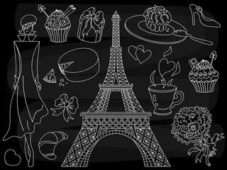 Vector Chalkboard Paris Set. Vector Doodle Paris Set on Black Background