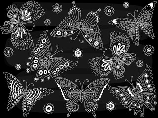 Vector Chalkboard Butterflies Set
