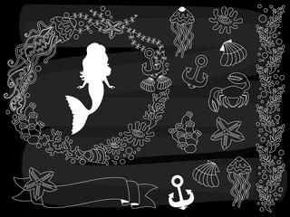 Vector Chalkboard Sea Life Set. Vector set of Nautical Elements on Blackboard Background