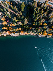 Aerial Boat Fall Lake
