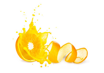 An orange splash. concept of orange with juice