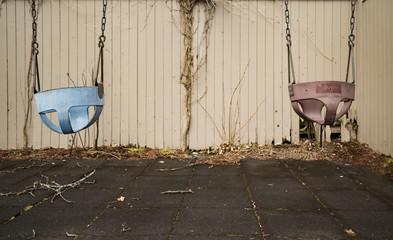 Children swing, playground in the park vintage tone