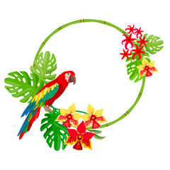 Ara parrot and tropical bamboo frame. Leaf and exotic plants and flowers on white background.