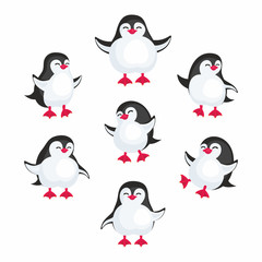 Fun image of penguins in cartoon style. Vector illustration set on white background