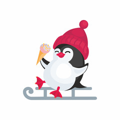 Fun image of a penguin in cartoon style. Vector illustration on white background