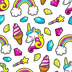 seamless Unicorns and rainbows