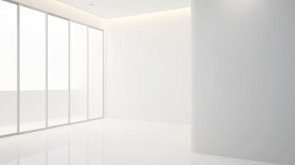 empty room in apartment or hotel for artwork - clean design - Interior design - 3D Rendering