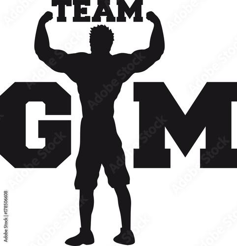 Text Team Gym Wappen Workout Gym Beast Mode Cool Design Logo