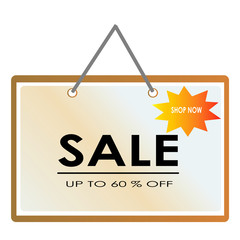 Sale banner hanging with rope style template Vector illustration isolated white background
