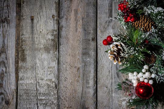 Christmas decorations on barn wood