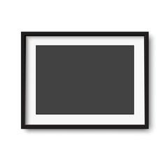 Black vintage horizontal photo frame. Vector