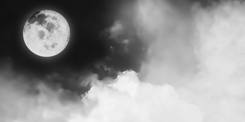 Black and White artistic panorama view of beautiful Fantasy Moon and cosmic clouds background.Image of moon furnished by NASA.